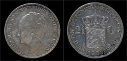 World Coins - Netherlands Wilhelmina I 2 1/2 gulden(rijksdaalder)1930