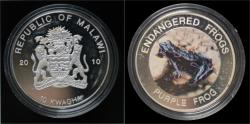 World Coins - Malawi- 10 kwacha 2010- Endangered frogs- Purple frog