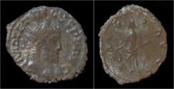 Ancient Coins - Tetricus I billon antoninianus Salus standing left.
