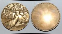 World Coins - ae medal from Jean VERNON deux pigeons s'aiment d'amour tendre bronze