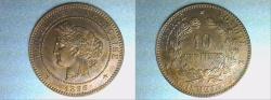 World Coins - bronze 10 centimes CERES 1896 A PARIS mint