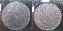 World Coins - silver 5 francs 1849 A Paris mint ceres oudiné very rare on this quality