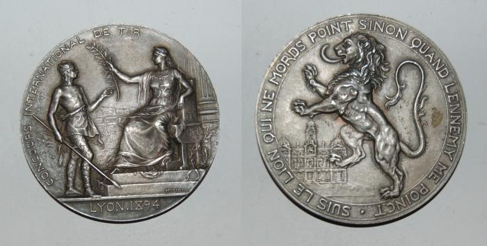 World Coins - silver medal from HENRI DUBOIS 61 mm LYON 1894 rare