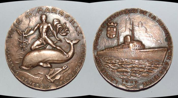 World Coins - ae medal from GEORGES GUIRAUD 56 mm compagnie transatlantique art deco 1949 bronze medal