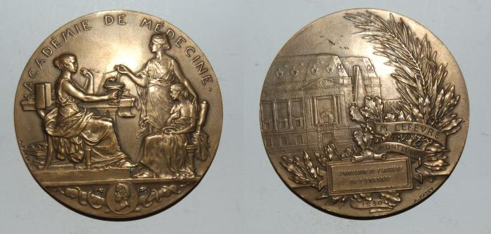 World Coins - ae medal from A PATEY  60 mm academie de medecine bronze medal
