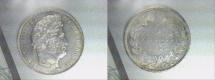 World Coins - silver 5 francs 1833 B ROUEN mint Louis philippe I er