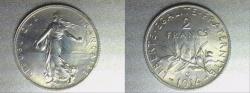 World Coins - silver 2 francs semeuse 1914 C Castelsarrasin mint