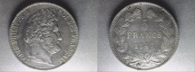 World Coins - silver 5 francs 1847 A Paris mint from louis philippe I er