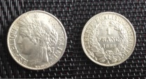 World Coins - silver 1 franc ceres oudiné 1888 A Paris mint