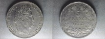 World Coins - silver 5 francs 1833 W lille mint Louis philippe I er