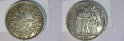 World Coins - silver 5 francs 1849 A Paris mint ceres oudiné  rare on this quality