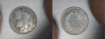 World Coins - silver 50 centimes CERES 1872 A Paris mint