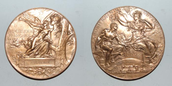 World Coins - ae medal from LOUIS BOTTEE exposition 1889 65 mm bronze medal