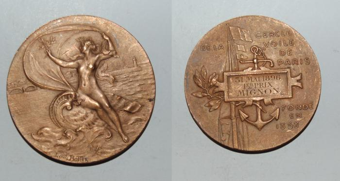 World Coins - ae medal from LOUIS BOTTEE voile de paris 51 mm 1er prix bronze medal