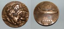 World Coins - AE medal from R DELANDRE 68 mm aux ailles Françaises  art deco medal