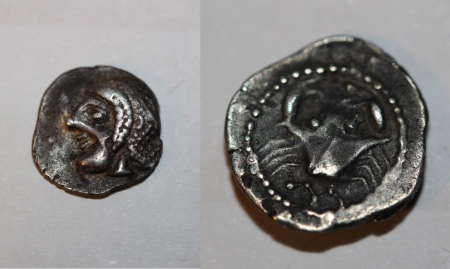 Ancient Coins - rare celtic silver obol from massalia in france LT511  0,7g