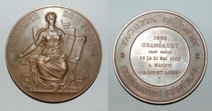 World Coins - ae medal from ALPHEE DUBOIS 69 mm facultes de droit 1883