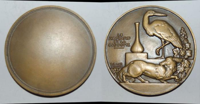 World Coins - ae medal from JEAN VERNON le renard et la cigogne  60mm bronze