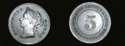 World Coins - British Colony. Victoria 5 Cents  malaysia 1889