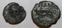 Ancient Coins - rare celtic bronze for nimes nemausus in france LT 2698  1,7g