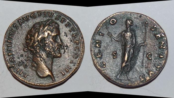 Ancient Coins - ae sestertius from antoninus pius 33 mm genio senatus