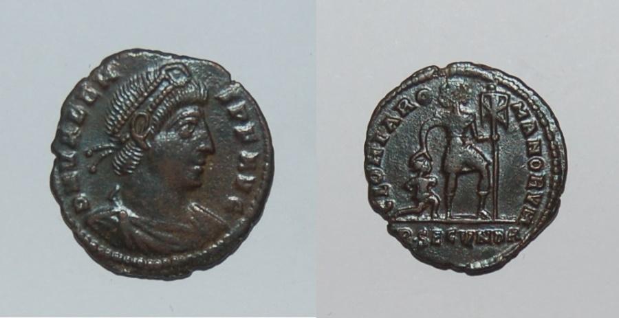 Ancient Coins - bronze nummus for Valens ric 23b Rome mint mark R.secunda