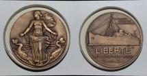 "World Coins - ae medal from Jean VERNON compagnie generale transatlantique ""LIBERTE"" 50mm bronze"