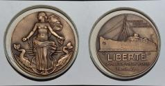 "World Coins - ae medal from Jean VERNON compagnie generale transatlantique ""LIBERTE"" 50mm bronze"