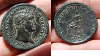 Ancient Coins - AE sestertius for traian. ( dacicus ). unlisted in ric very rare
