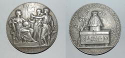 World Coins - silver medal from J C CHAPLAIN 58 mm caisse d'epargne  art nouveau medal rare