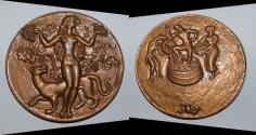 World Coins - AE medal from GEORGES GUIRAUD 115 mm ( les vendanges ) large bronze medal