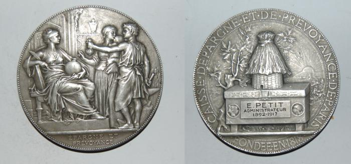World Coins - silver medal from J C CHAPLAIN 58 mm caisse d'epargne  art nouveau medal rare