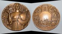 World Coins - ae bronze medal from PIERRE TURIN 81 mm minted 1980( les monnuments de Paris) art deco medal
