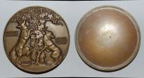 World Coins - ae medal from Jean Vernon deux renards  60mm bronze