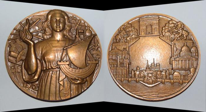 World Coins - ae bronze medal from PIERRE TURIN 81 mm minted 1980( les monnuments de Paris) art deco medal