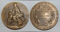 World Coins - ae medal from J C CHAPLAIN 68mm belle jardiniere Paris bronze rare