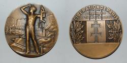 World Coins - ae medal from L BAZOR 1944  Liberation de Paris 69 mm art deco bronze medal