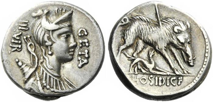 Ancient Coins - C. Hosidius C.f. Geta. 68 BC. Denarius.