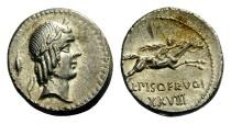 Ancient Coins - L. Calpurnius Piso Frugi, 90 BC. Denarius.
