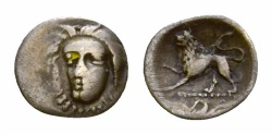 Ancient Coins - Phistelia AR Obol, Female head/Lion, c. 325-275 BC