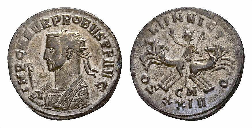 Ancient Coins - Probus AE silvered antoninianus, Sol in quadriga reverse