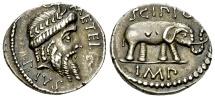 Q. Caecilius Metellus Pius Scipio AR Denarius, Africa 47/46 BC