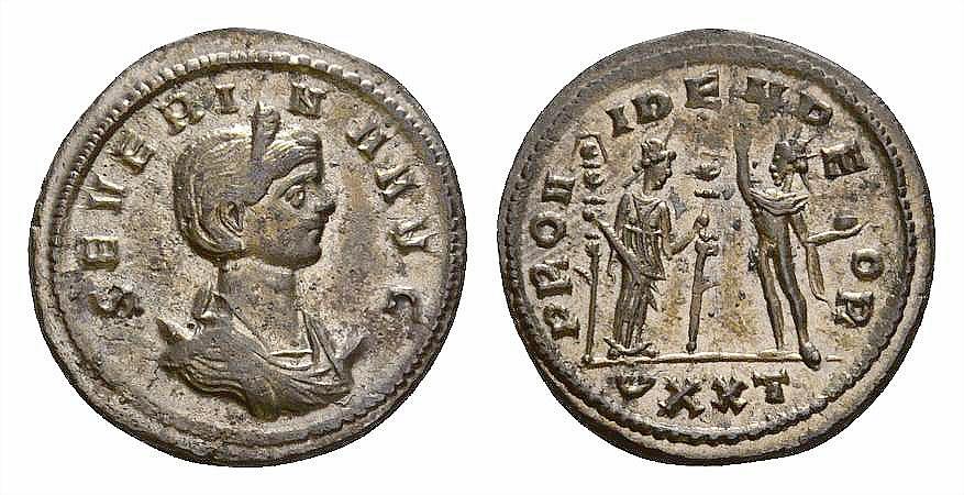 Ancient Coins - Severina AE silvered antoninianus, Fides reverse