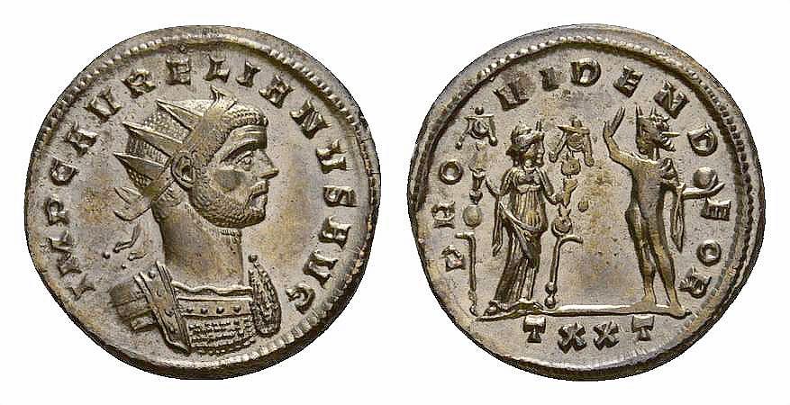 Ancient Coins - Aurelianus AE silvered antoninianus, Fides reverse
