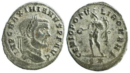 Ancient Coins - Maximianus Herculius Follis, Genius reverse, RIC VI Rome 94b