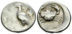 Ancient Coins - Akragas AR Didrachm, c. 490-483 BC
