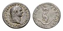 Ancient Coins - Titus AR Denarius, Dolphin coiled round anchor reverse