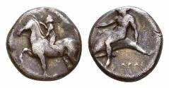 Ancient Coins - Tarentum AR Nomos, c. 385-380 BC