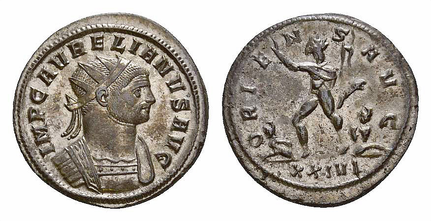 Ancient Coins - Aurelianus AE silvered antoninianus, Sol reverse