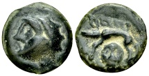 Incerti AE cast potin, boar and facing head reverse
